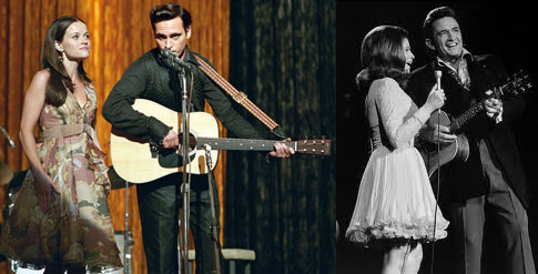 Joaquin Phoenix and Reese Witherspoon as Johnny and June Carter Cash