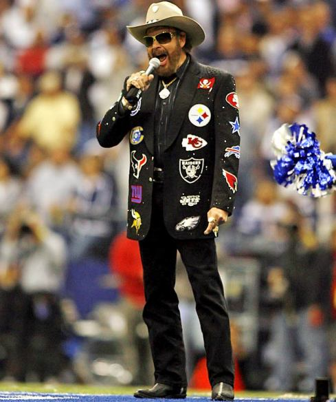 "Hank Williams, Jr. singing ""Are you ready for some football?"""