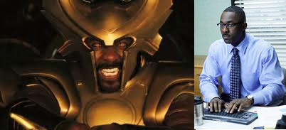 Idris Elba plays both Heimdall and Charles Miner from the Office